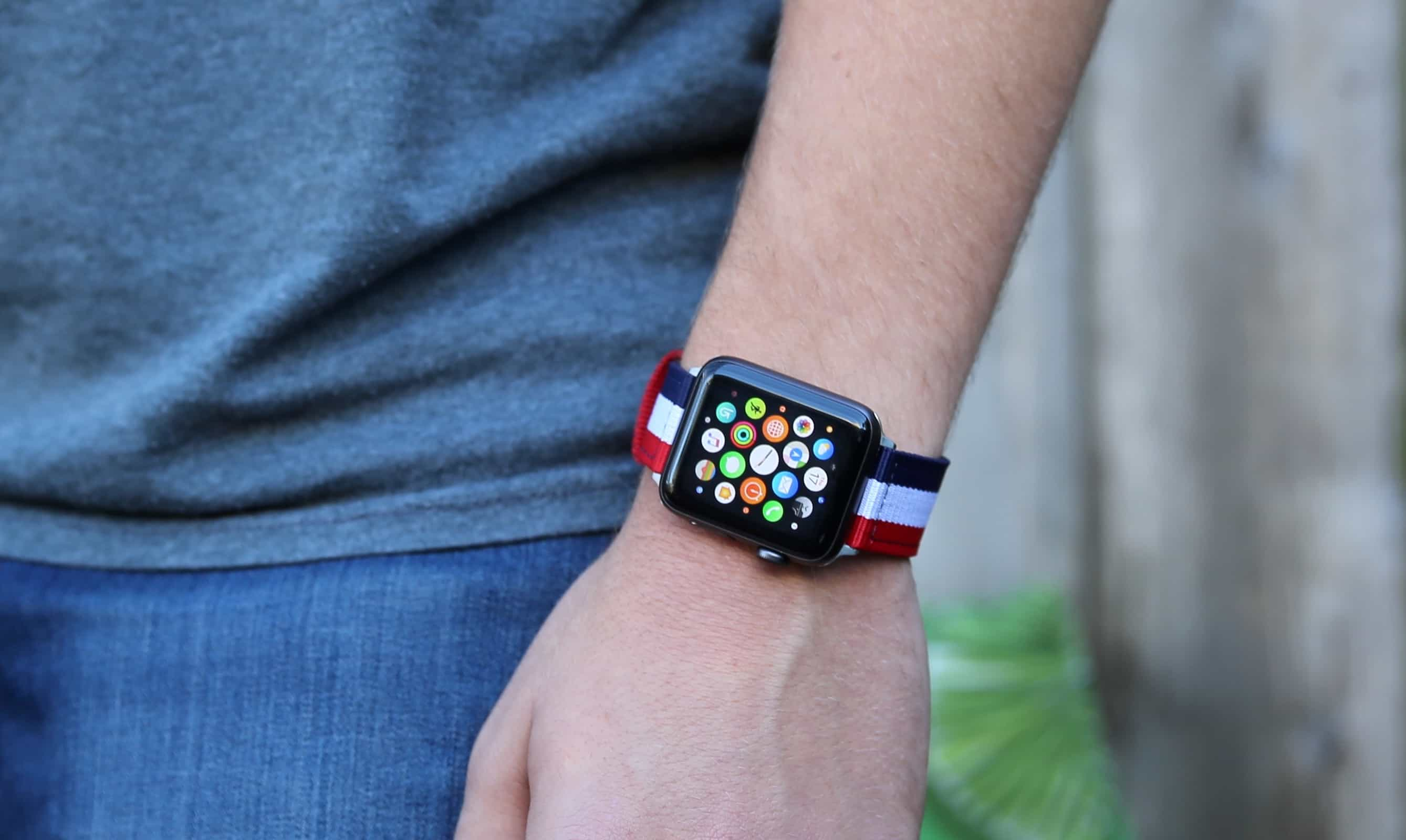 Nyloon's Elysee Nylon Band for Apple Watch in navy, white and red has a comfortable, fabric-like feel.