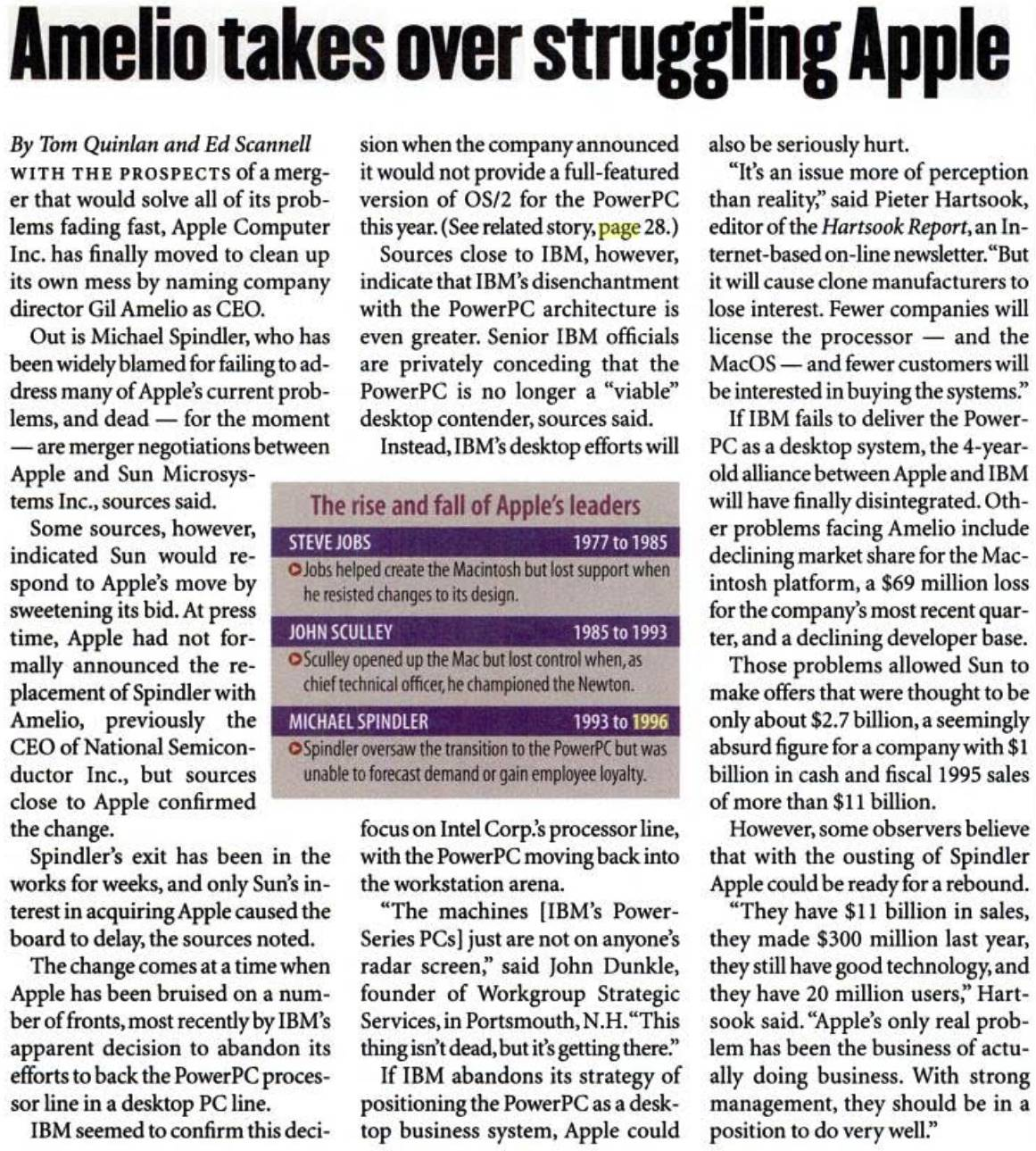 How the news of Gil Amelio taking over as Apple CEO was reported by InfoWorld in 1996
