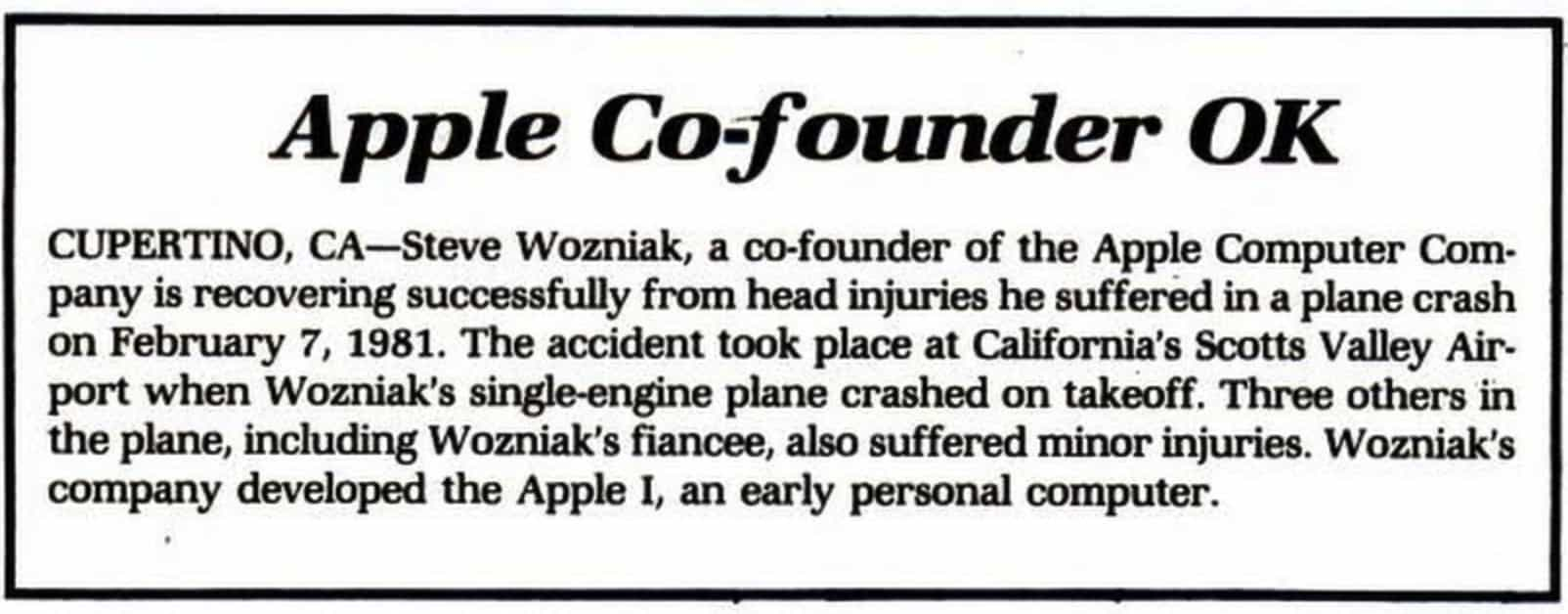 Steve Wozniak plane crash makes the news.