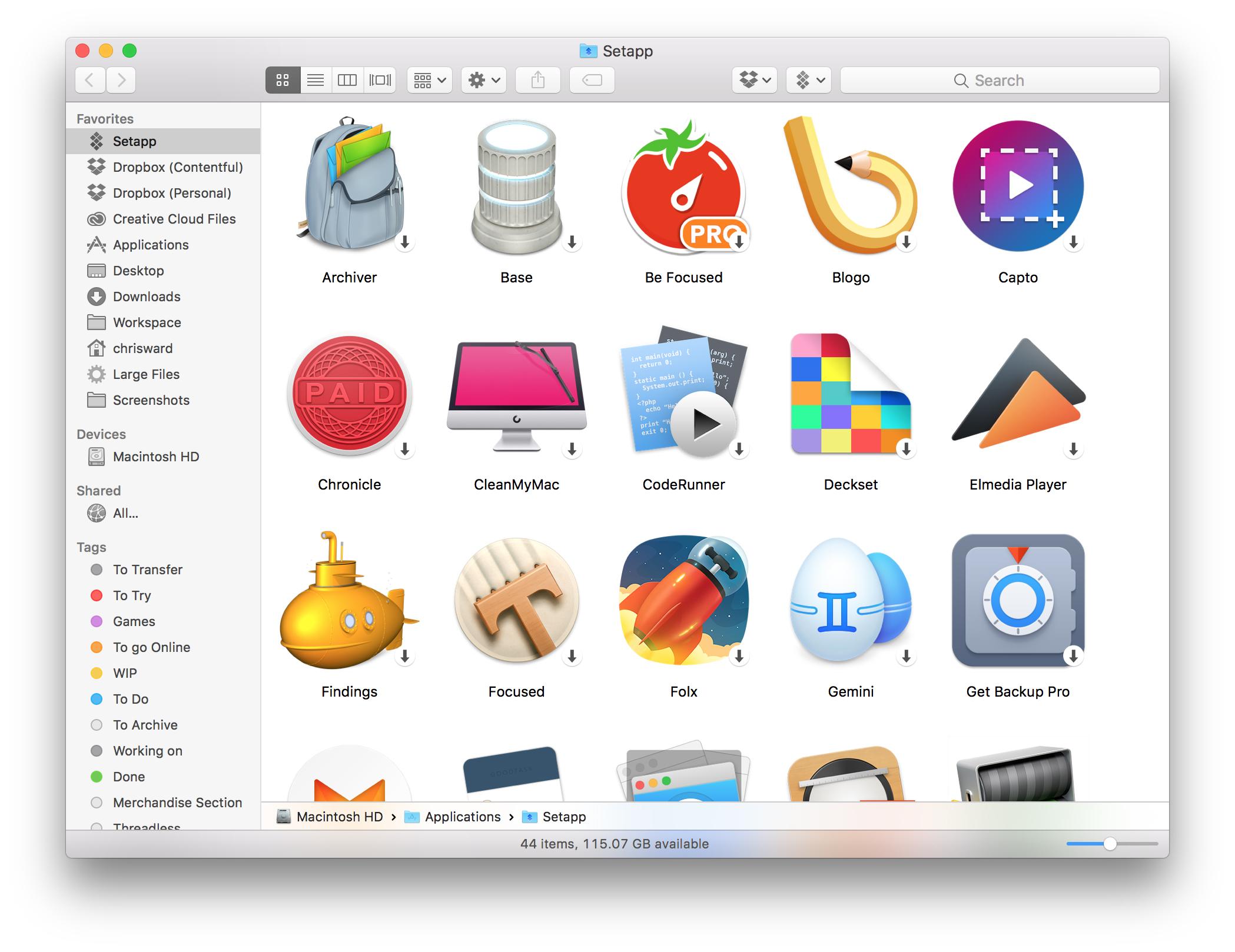 The Setapp folder full of applications