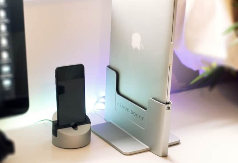 Henge Docks' Vertical Docking Station, a MacBook Pro dock