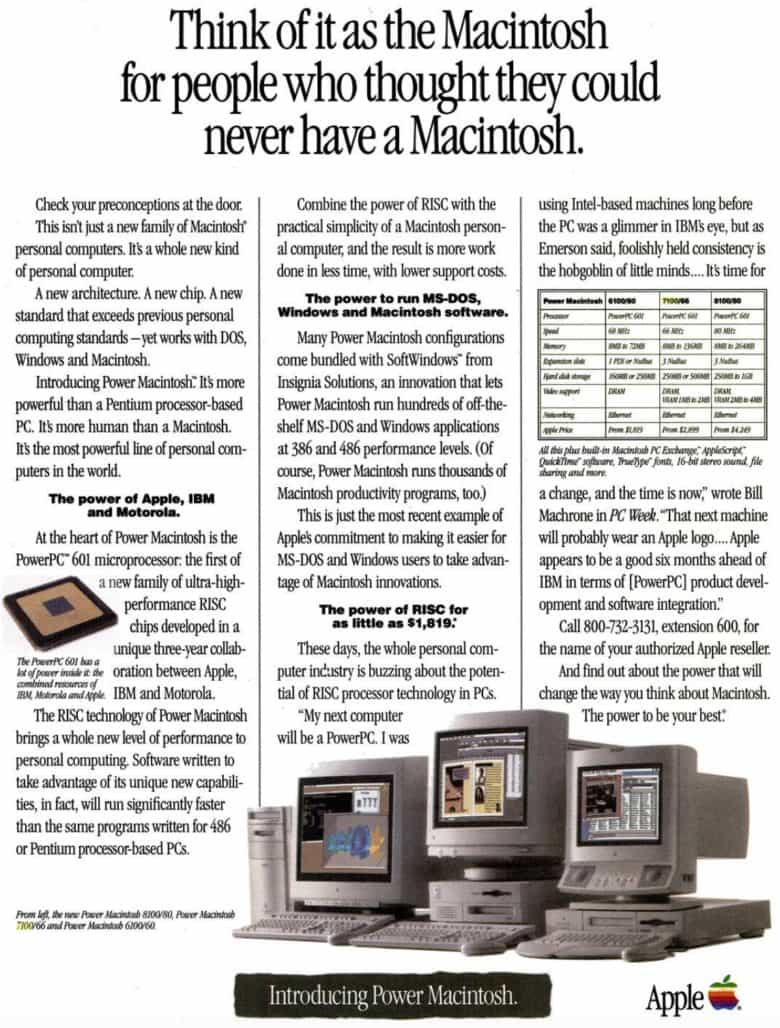 The Power Mac 7100 compared with the other Power Macintoshes of its day