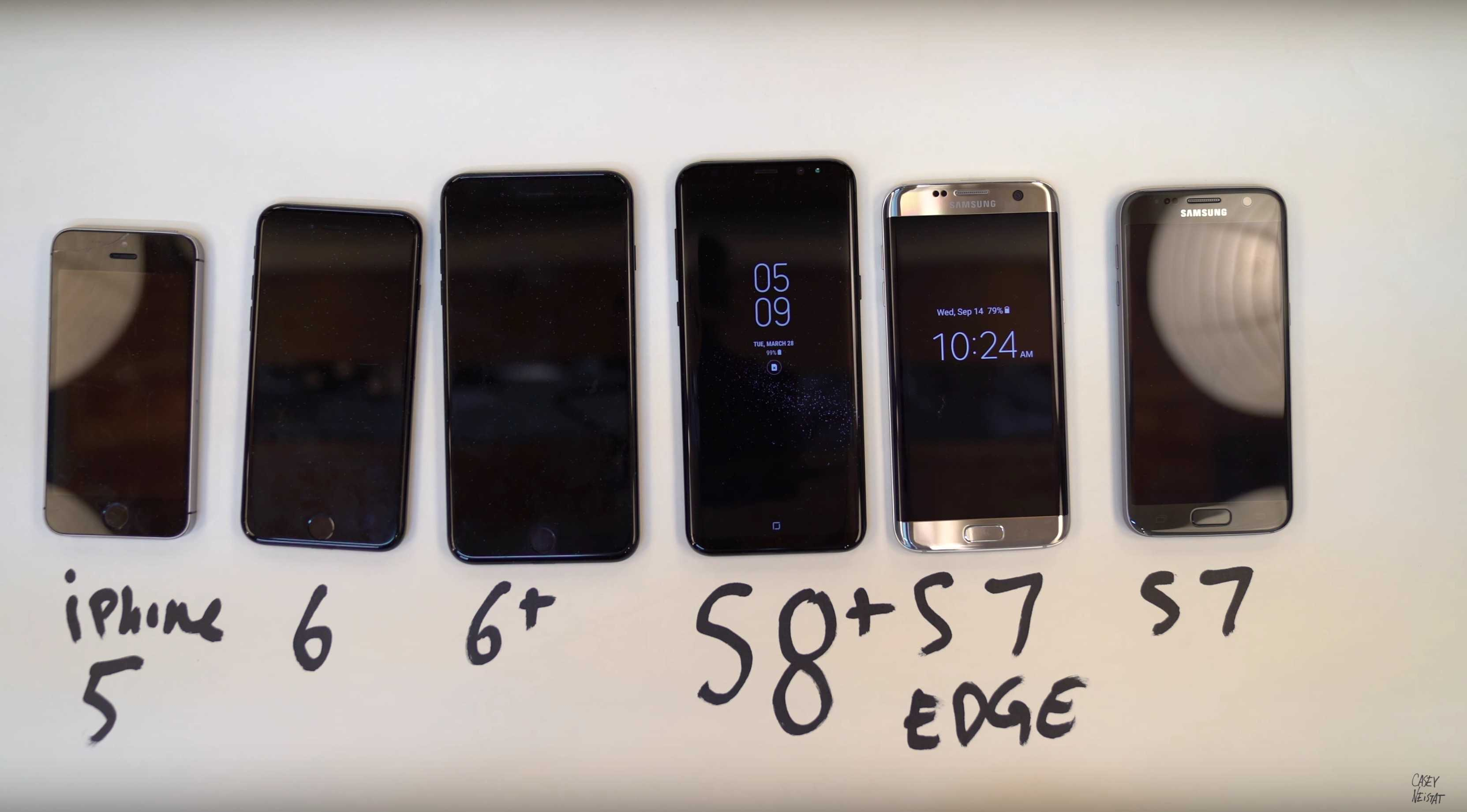 The S8 looks stunning next to old smartphones.