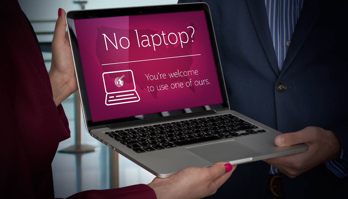 Airlines are offering loaner laptops on flights from the Middle East.