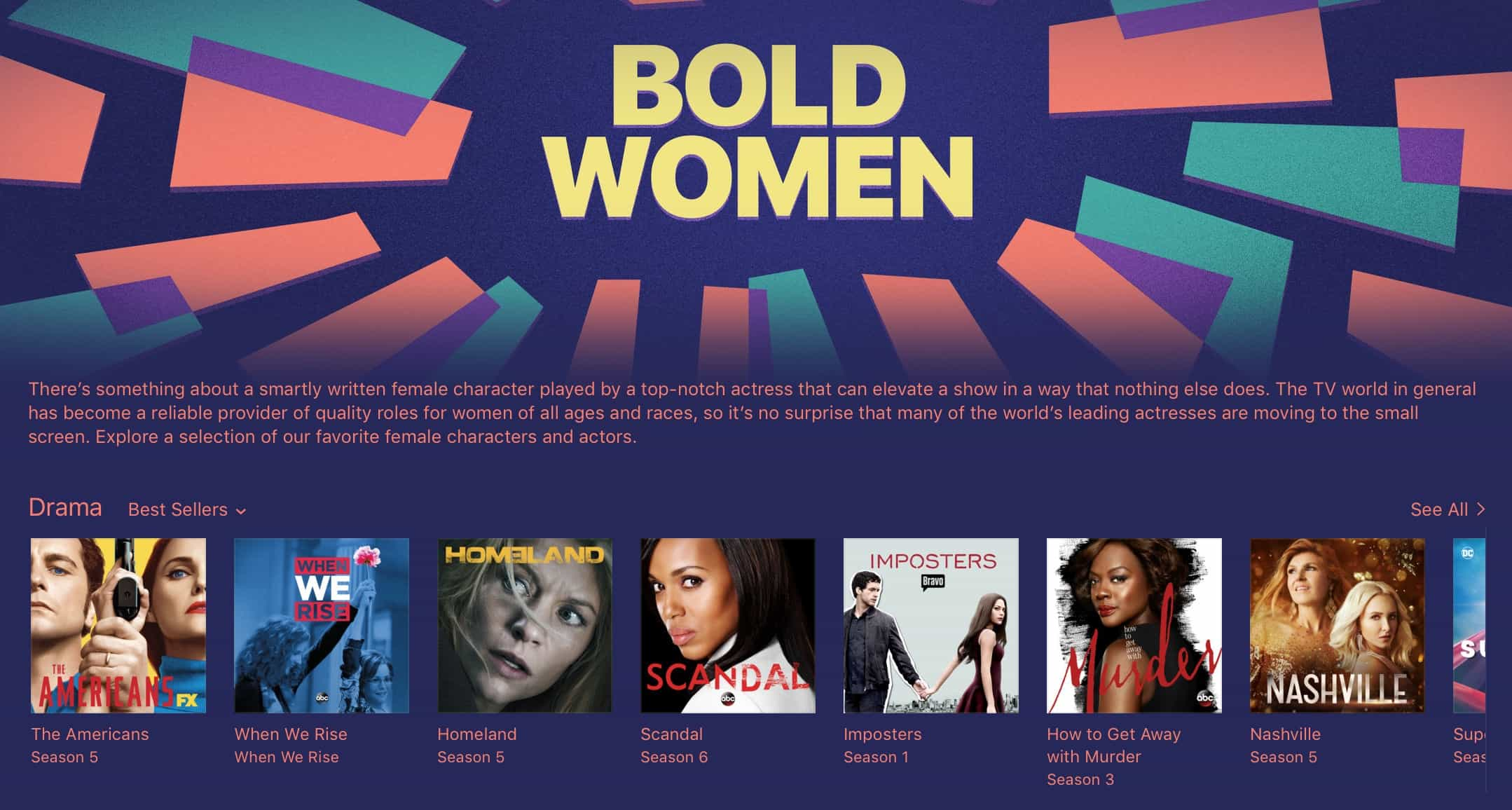 iTunes is promoting movies and TV shows with strong female characters.