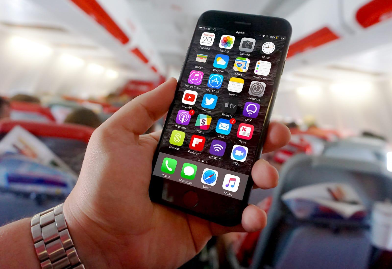 iPhone on plane