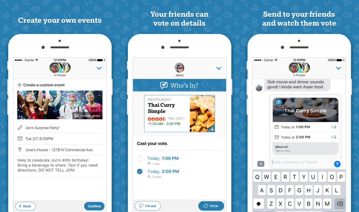 Get your friends organized with 'Who's In'