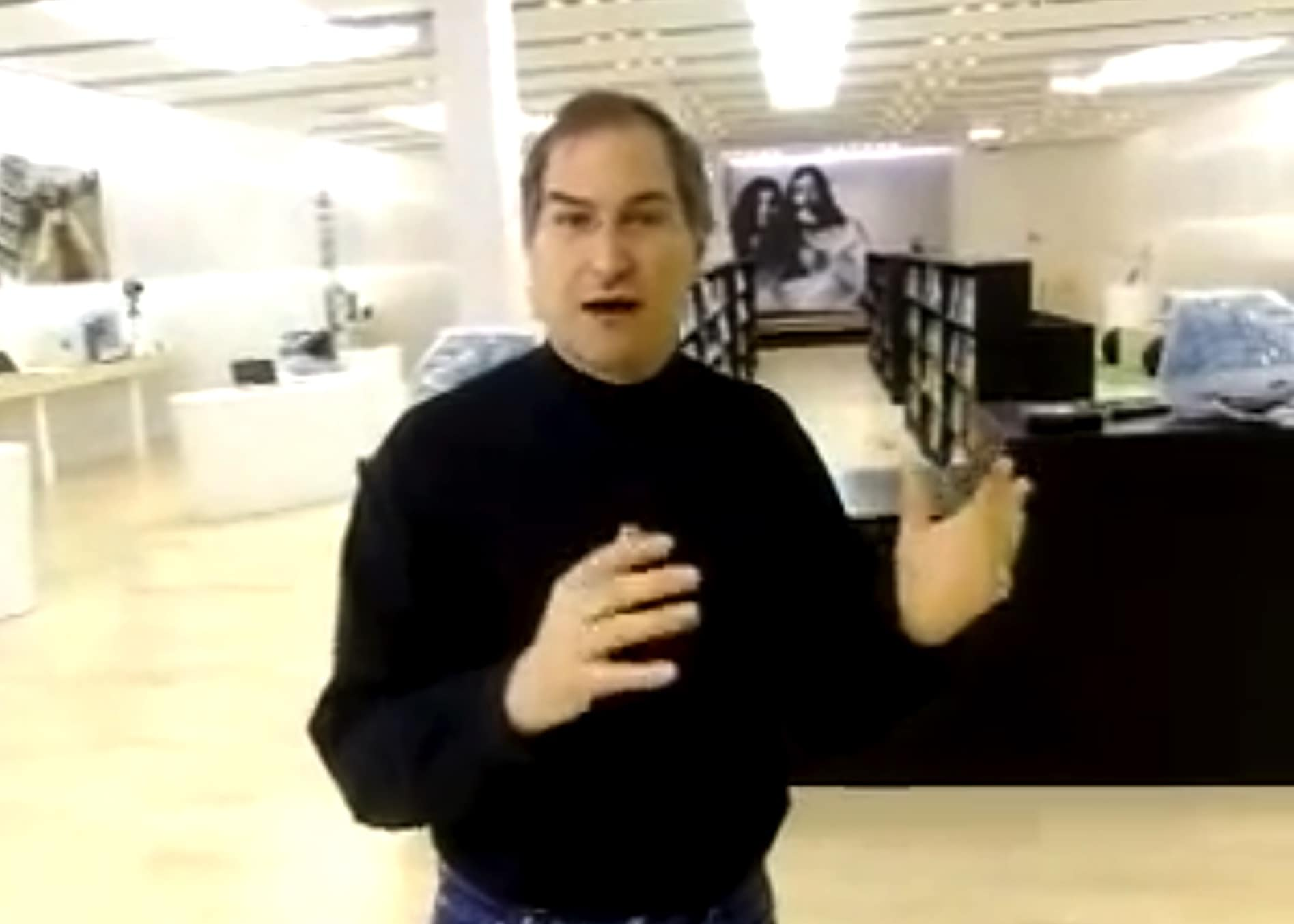 Steve Jobs offers a sneak peek at the first Apple store prior to its opening.