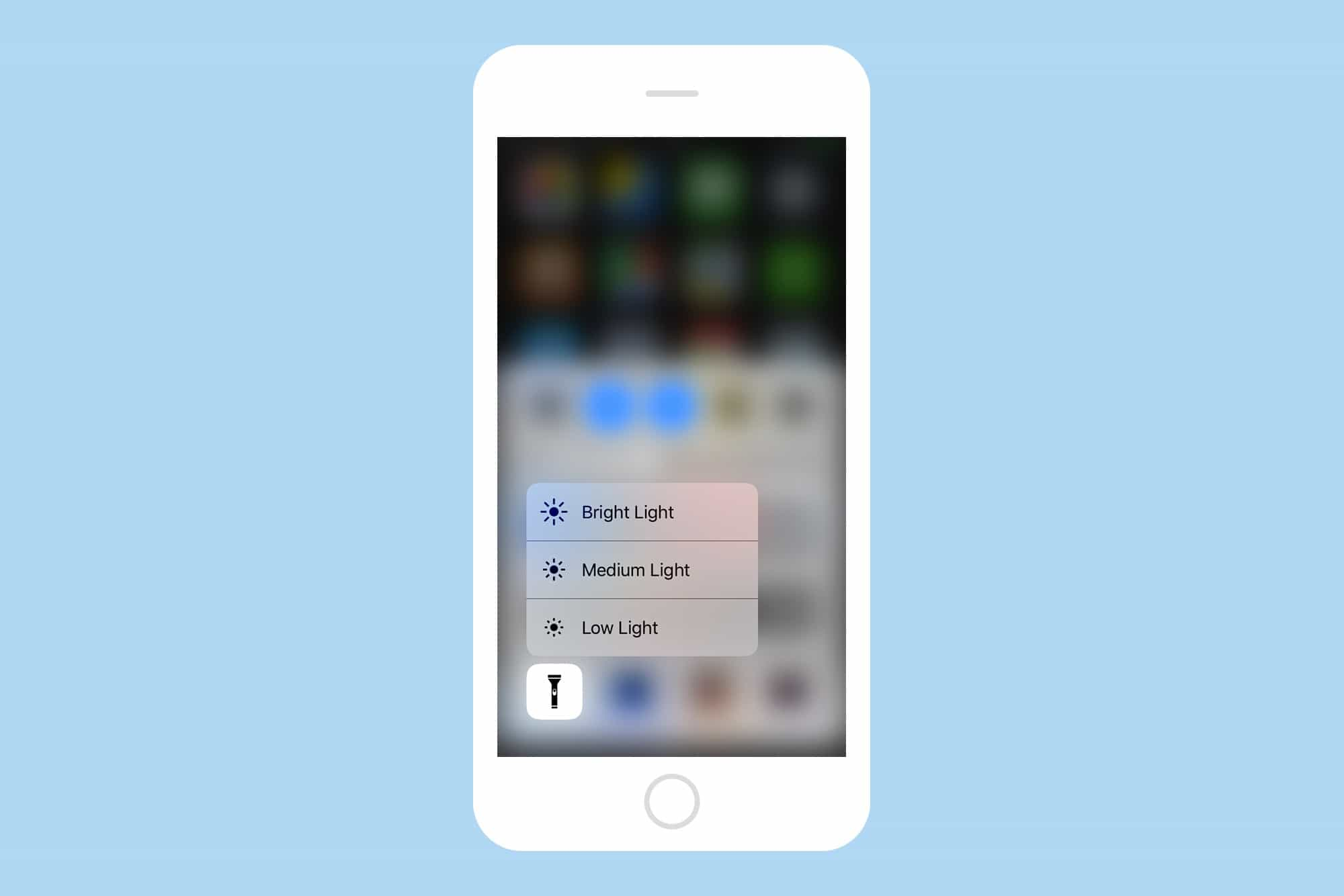 Save battery, or go easy on your eyes, with flashlight brightness controls.