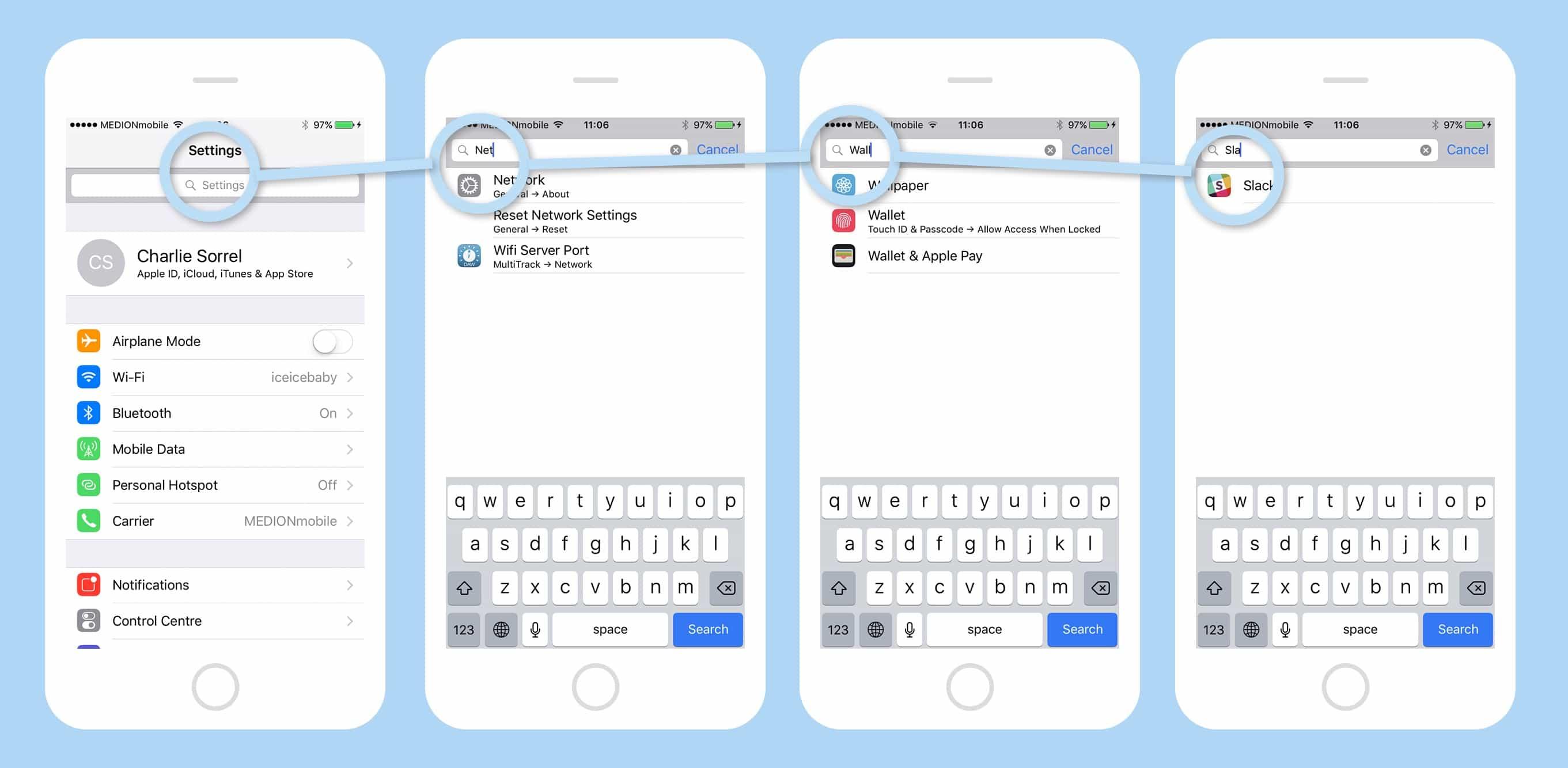 iOS search settings