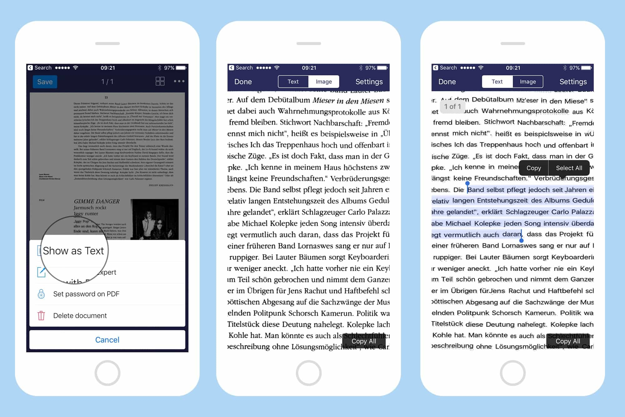 Scanned text is turned into editable text automatically.