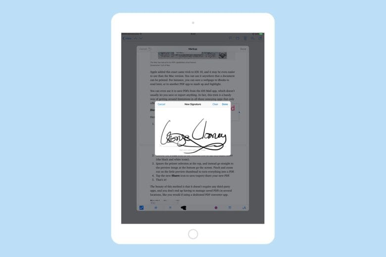 Signatures are synced with Preview on the Mac.