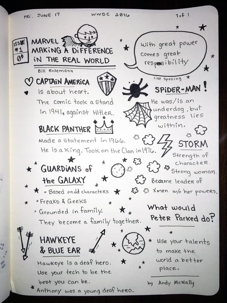 2016 Apple WWDC sketchnotes of the Marvel Comic session