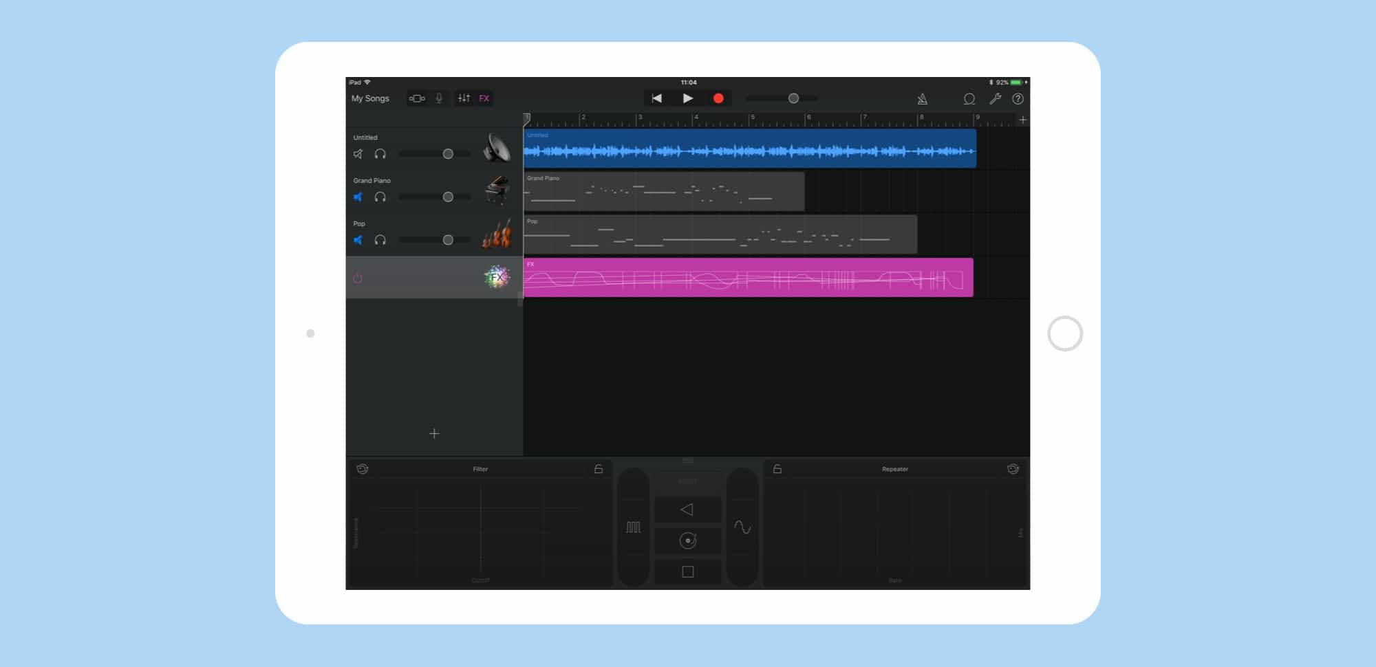 Remotely add tracks to a Mac GarageBand project with iOS.