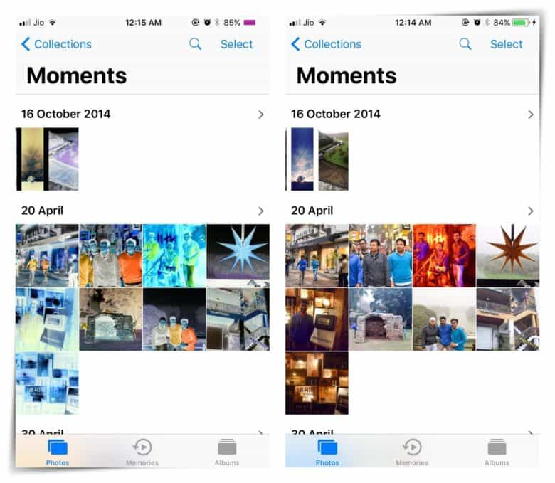 iOS classic inverse colors mode on the left versus iOS 11 Smart Invert mode