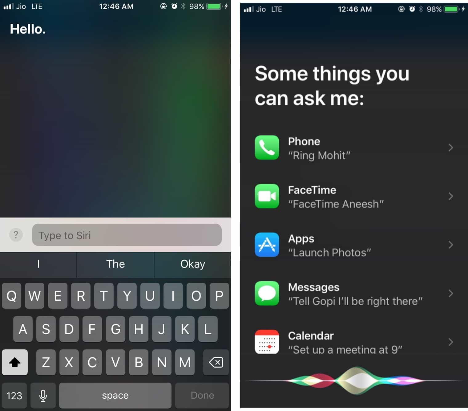 type to Siri iOS 11