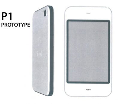 "This is an early ""Sandwich"" prototype (also marked ""iPod"" on the back) that imagined the iPhone in Apple's iconic white plastic. In early models, the Home button is marked ""Menu."""