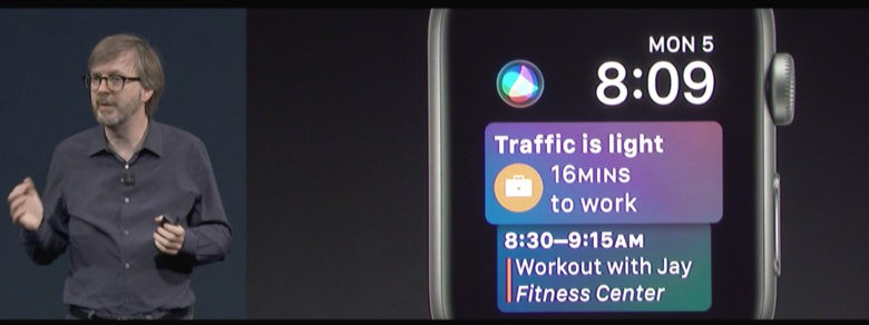 Kevin Lynch shows off the new Siri watch face for Apple Watch.