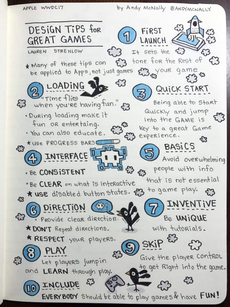 Apple WWDC 2017 designing for Games session visual notes