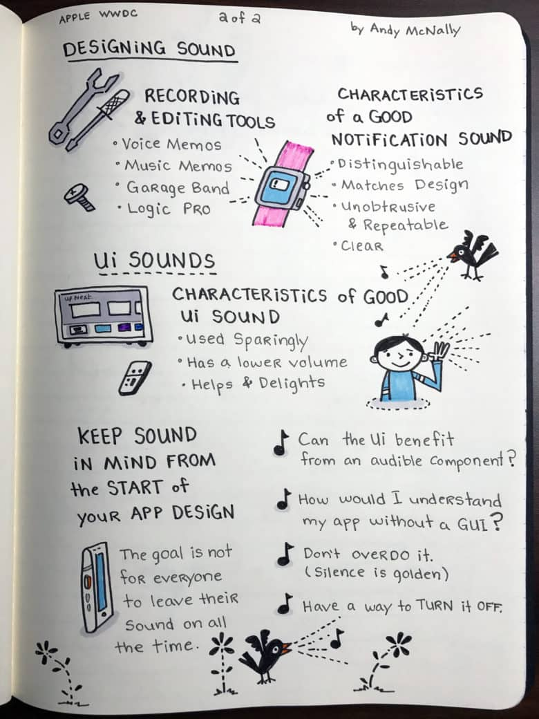 Apple WWDC Designing Sound session visual notes