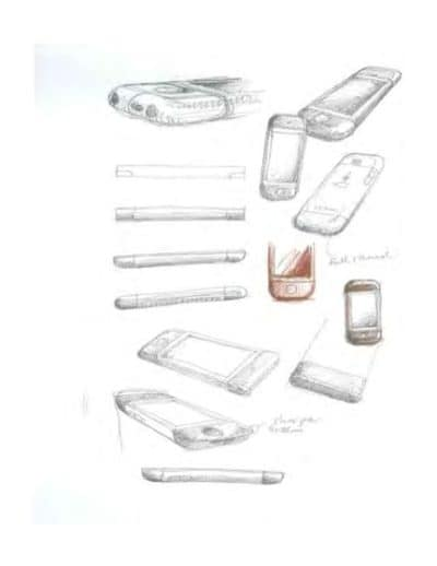 Designer Chris Stringer's early sketches of the iPhone look rather like the finished product, but with a smaller, bordered screen. You can also see sketches for an extruded-aluminum model, which would be abandoned during rocky development.