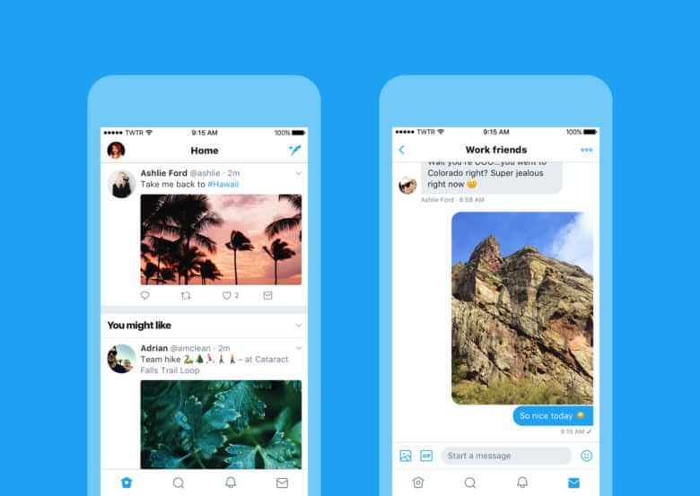 Twitter's fancy new look on iPhone.