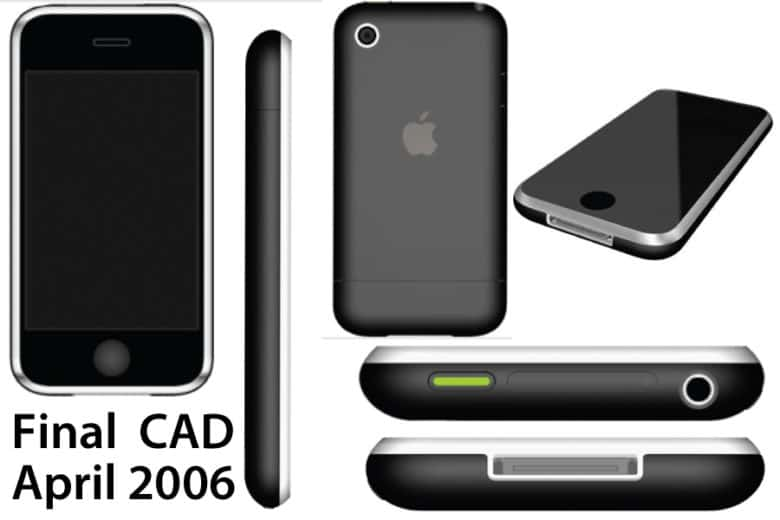 These CAD outputs show what would become the first iPhone -- a big glass screen held in place by a polished stainless steel bezel.