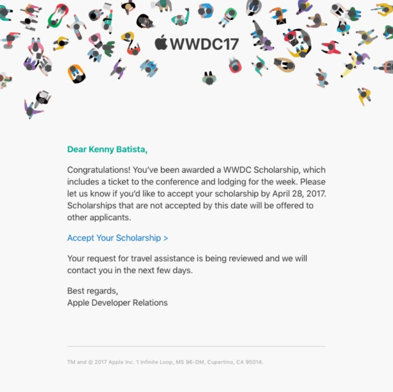WWDC Acceptance E-mail Kenny Batista