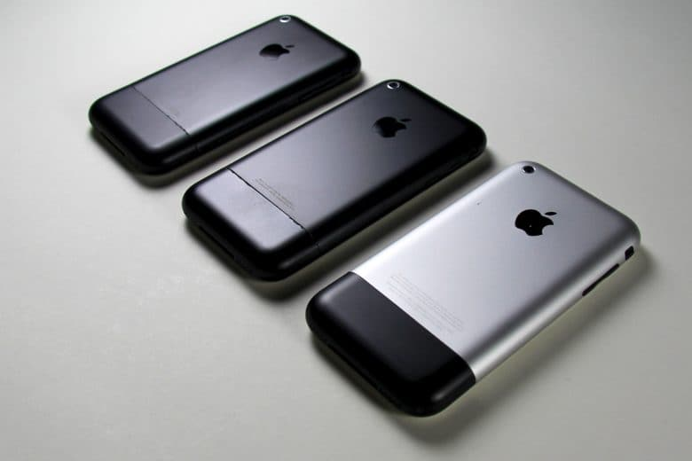 A trio of original iPhone prototypes show different colors and finishes tried out by Apple.