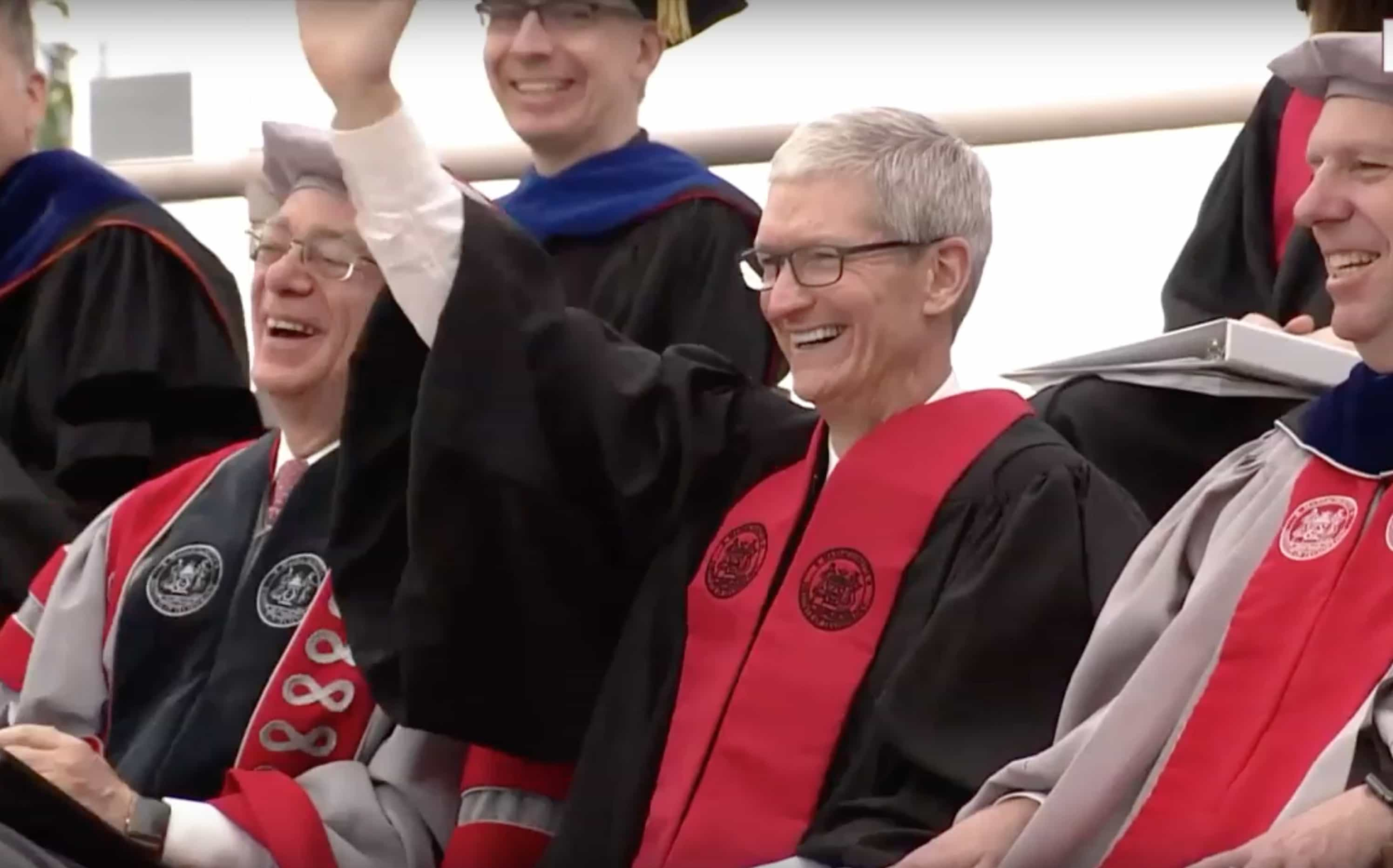 Apple CEO Tim Cook before giving the 2017 MIT Commencement Speech.