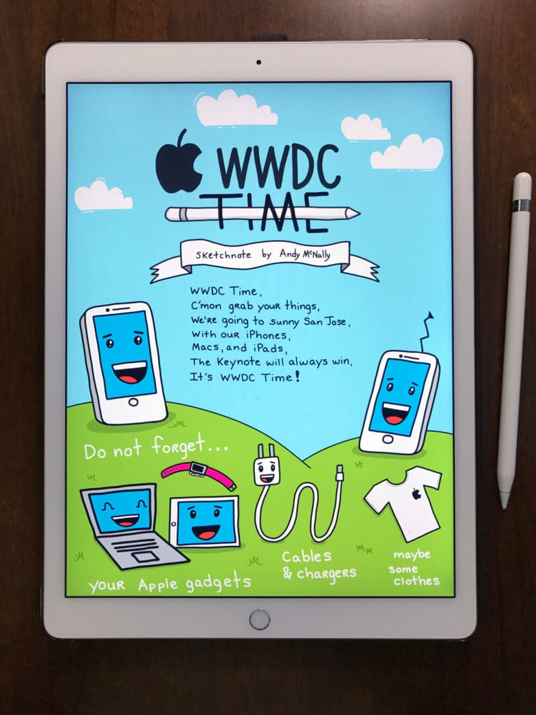 iPad Pro with WWDC Time sketchnote displayed