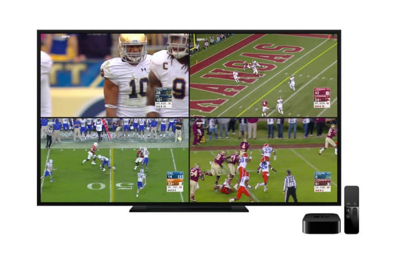 ESPN on Apple TV can now display four live streams at once