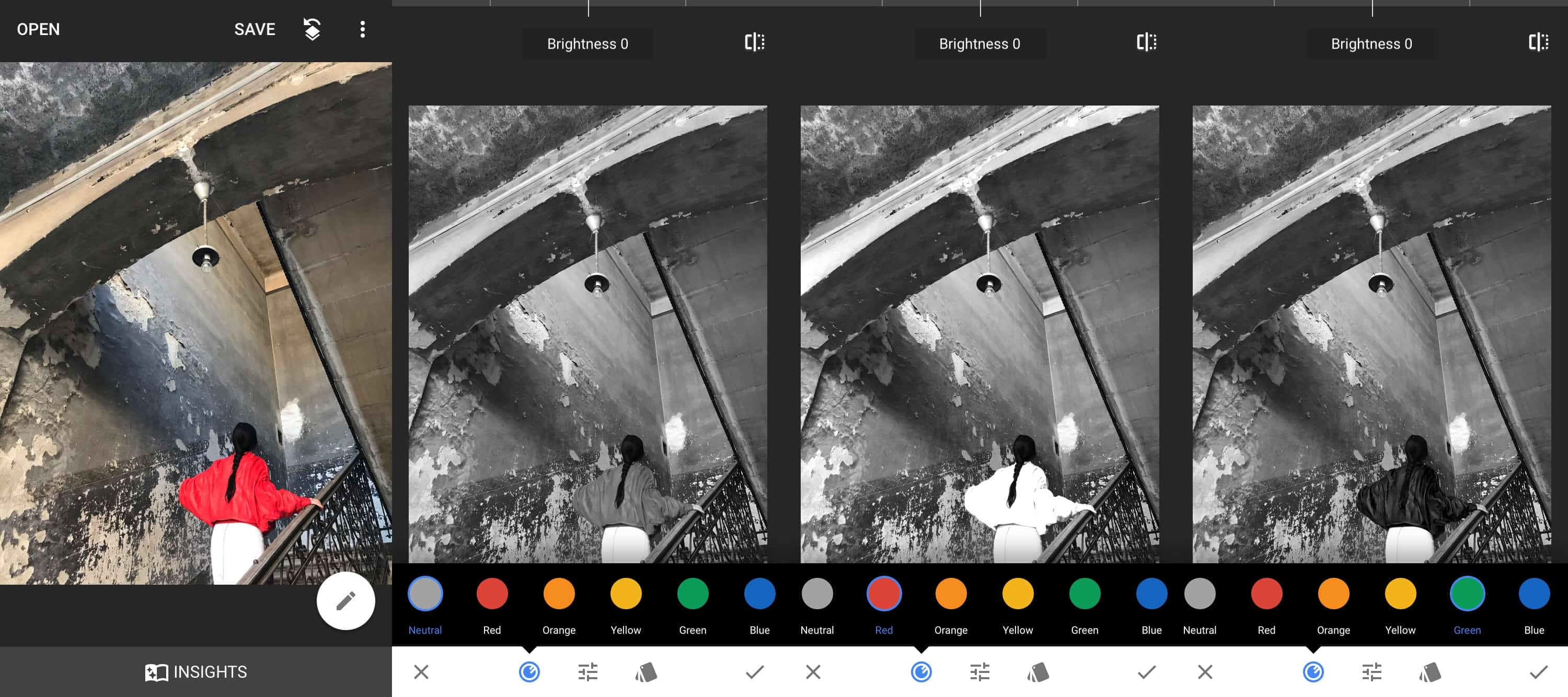 This shows how red and green filters can affect a B&W image.