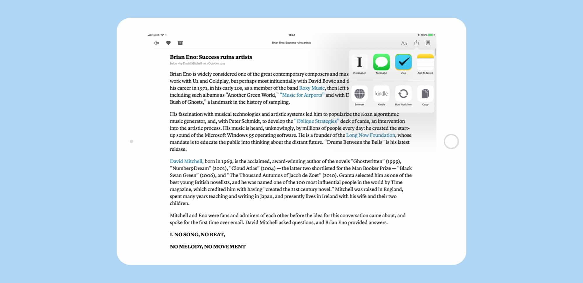 Sharing from Instapaper is super easy.