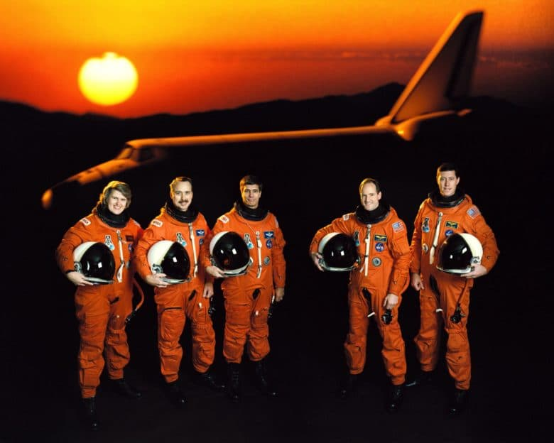 A crew aboard the Atlantis space shuttle sent the world's first email from space.