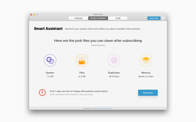 MacFly Pro's suite of Mac cleaning apps run in the background, alerting you when there's junk to be carried out.