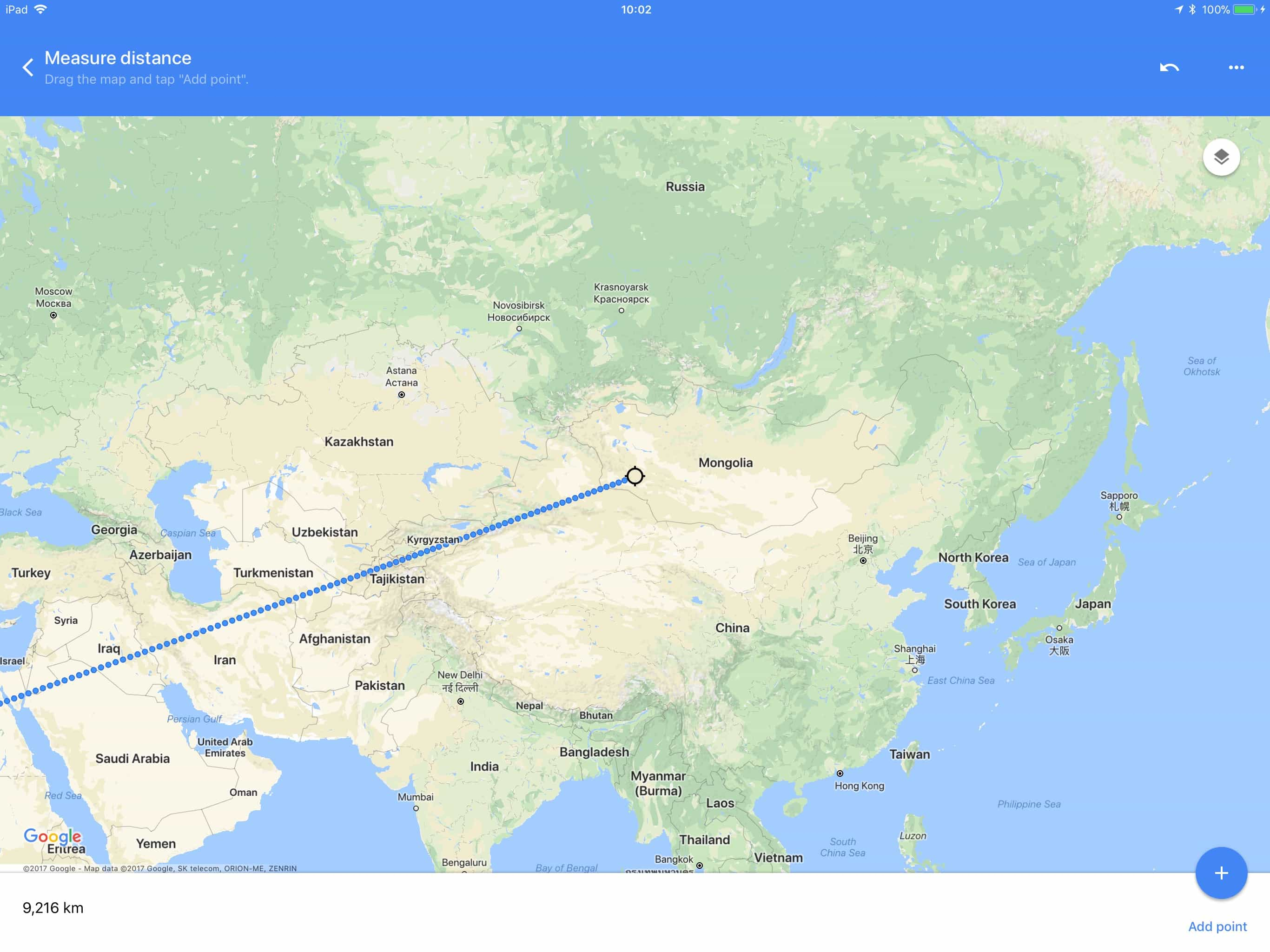 How to measure distance in Google Maps for iOS | Cult of Mac  Mile Radius Map on custom radius map, 400 miles by 300 miles map, radius point on a map, printable radius map, google maps radius tool map,