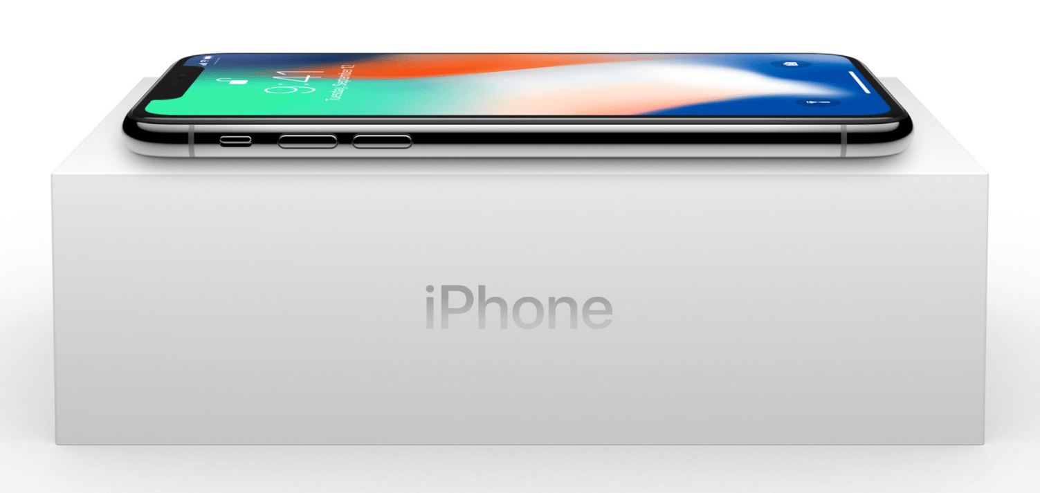 iPhone X on its box