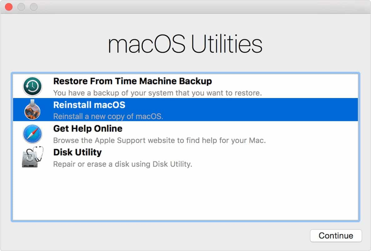 The Recovery Mode lets you reinstall macOS from the internet.