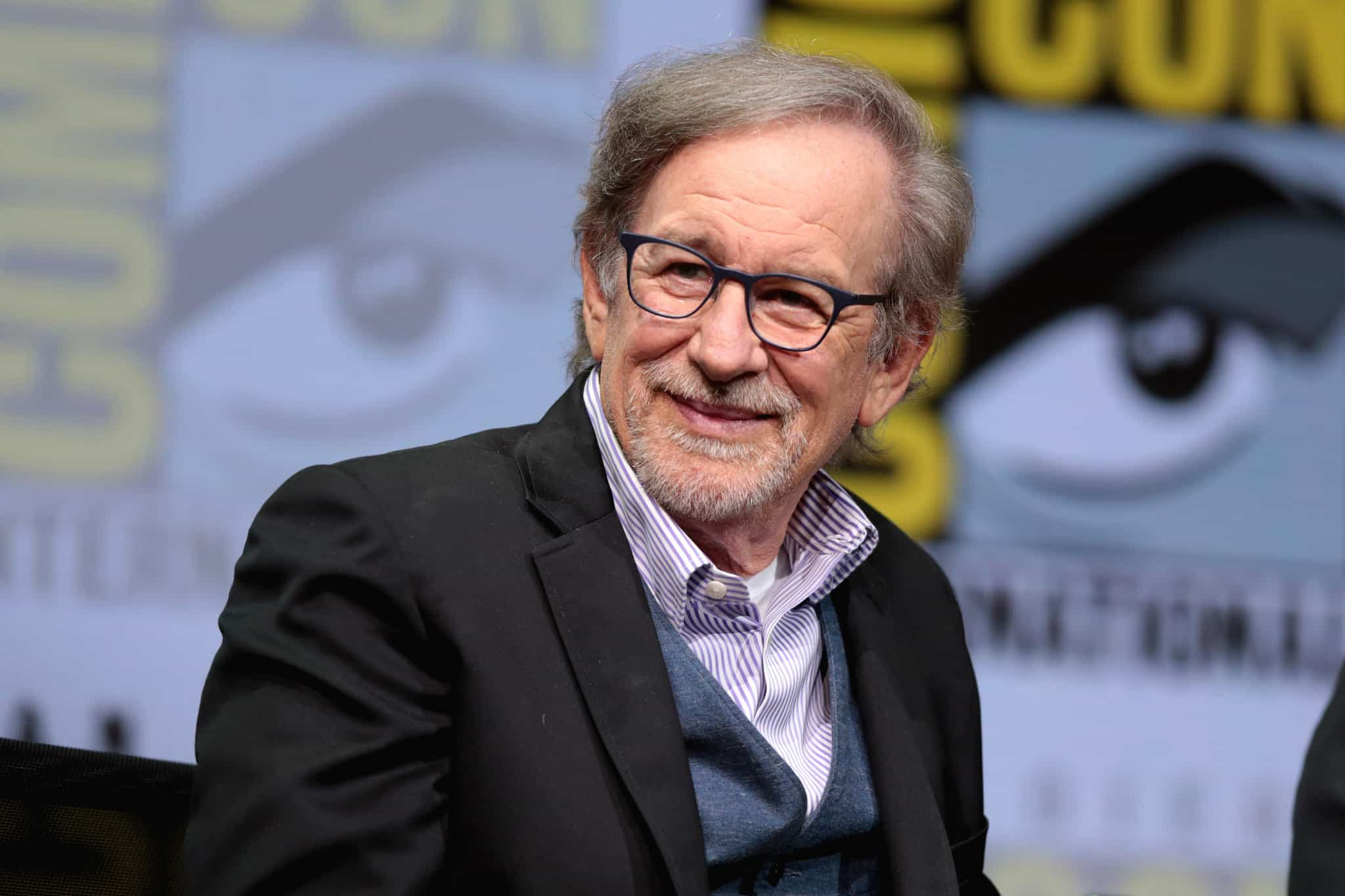 Steven Spielberg takes the stage at Comic-Con International in 2017.