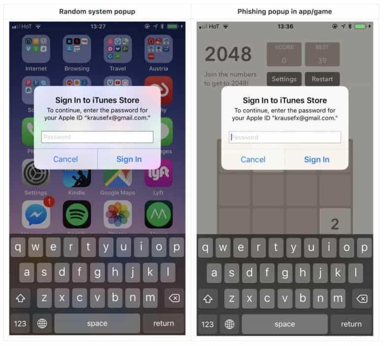 Apple ID phishing popup