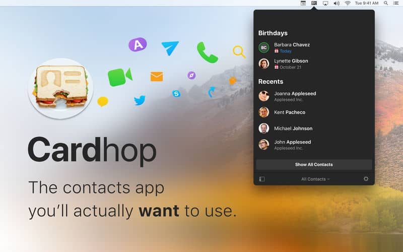 Cardhop contacts app for Mac
