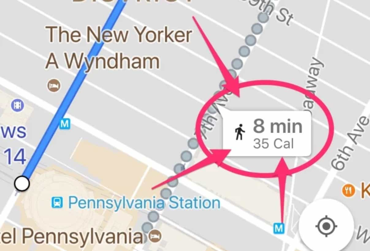 Google Maps calorie count
