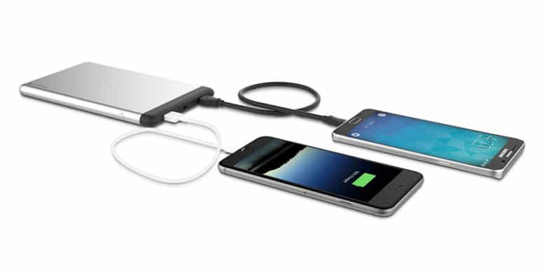 This battery can charge a single smartphone up to 8 times on a single charge, with dual USB outputs for double charging.