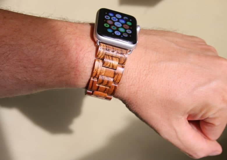Wood Mark's Teton Apple Watch band in Zebrawood