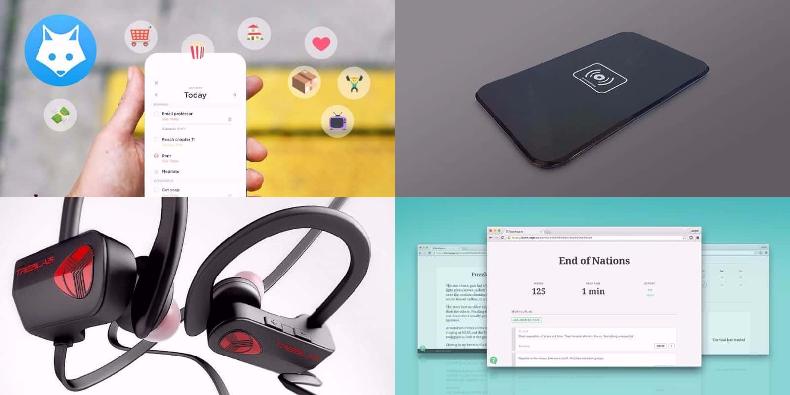 Wireless charging, distraction-free writing, and more are part of this week's best deals.