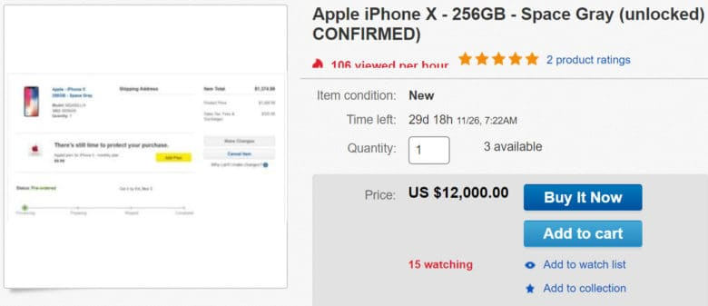 miglior sito web 1f00b 7fe9c iPhone X preorders list for crazy money on eBay | Cult of Mac