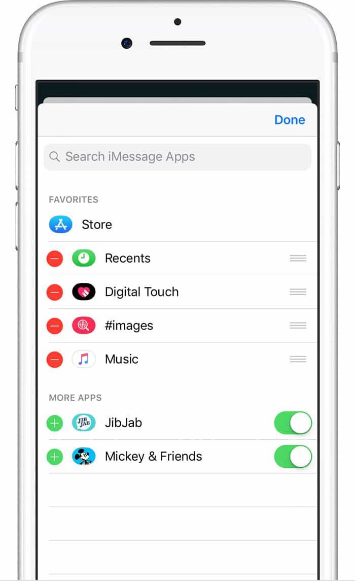 Manage your iMessage apps here.