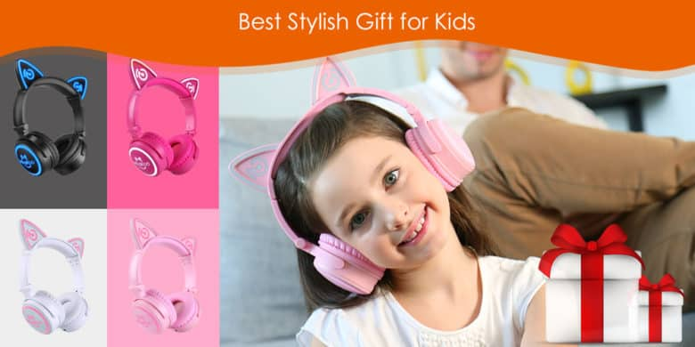 Kids will love the interactive flashing LED lights on the Mindkoo cat ear headphones.