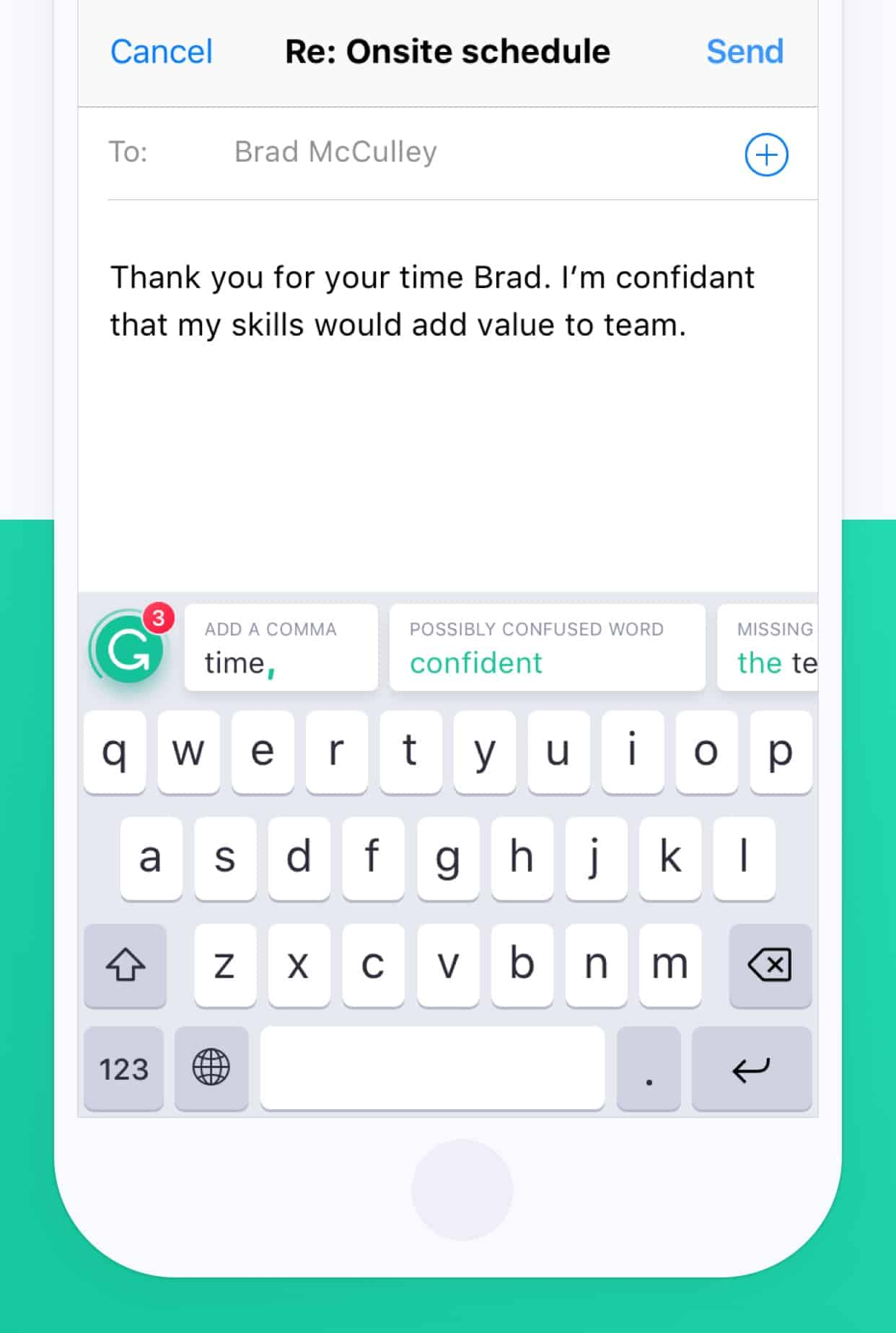 On the iPhone, Grammarly's limited keyboard is much less annoying.